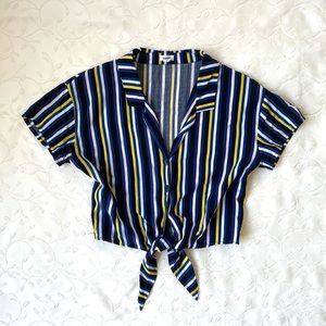 Garage striped button up collared tee with tie